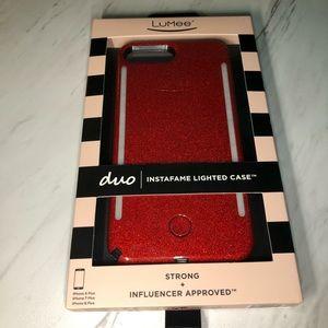 iPhone plus red glitter case